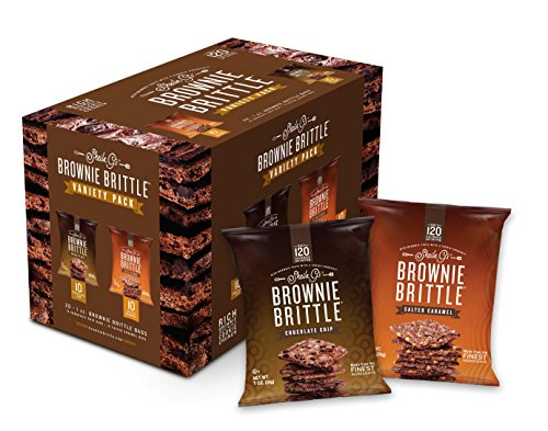 Brownie Chocolate Cookie Chip (Brownie Brittle, Salted Caramel & Chocolate Chip Variety Pack, 1 Oz Bag (Pack of 20), The Unbelievably Delicious Chocolate Brownie Snack with Cookie Crunch)