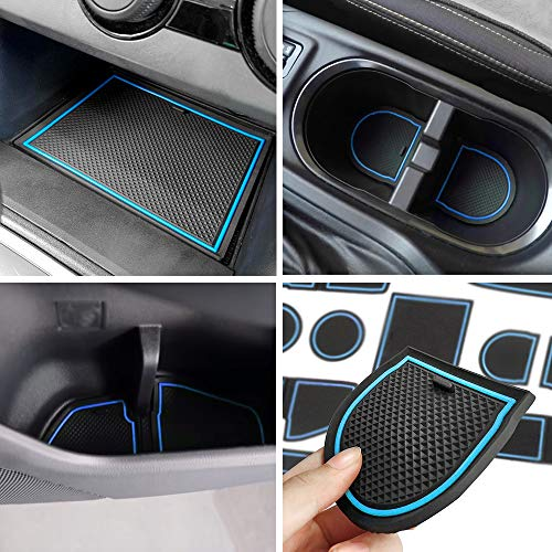 Car Body Accessory - Auovo Anti-dust Door Mats for 2018 2019 Subaru Crosstrek and Impreza Gate Door Liners Inserts Cup Console Mats Interior Accessories (Pack of 14) (Blue)