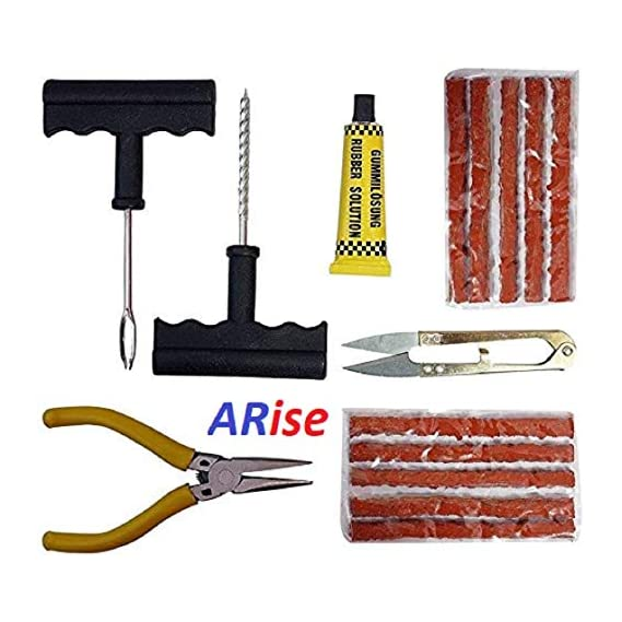 Jagger Tubeless Tyre Full Set with Nose Pliers, Cutter, Rubber Cement, Extra Strips for Cars, Bikes Puncture Repair Kit.