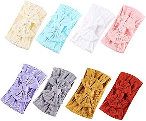 Baby Nylon Headbands Hairbands Hair Bow Elastics for Baby Girls Newborn Infant Toddlers Kids (Super soft-F)