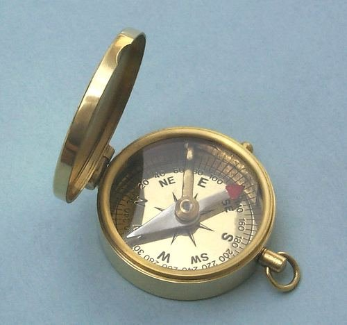 Engraved Brushed Brass Pocket Compass (May Your Faith Always Guide You, Personalized Confirmation Gift)