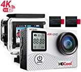 HDCool HC8000 4K Action Camera 16MP FHD 1080P Wifi Waterproof Sports Camera 2.0 Inch LCD Display, 170° Ultra Wide-Angle Lens, Include 2 Rechargeable 1050 mAh Batteries