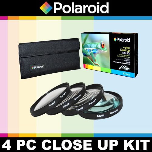 Polaroid Optics 4 Piece Close Up Filter Set (+1, +2, +4, +10) For The Nikon D40, D40x, D50, D60, D70, D80, D90, D100, D200, D300, D3, D3S, D700, D3000, D5000, D3100, D3200, D3300, D7000, D5100, D4, D4s, D800, D800E, D600, D610, D7100, D5200, D5300 Digital SLR Cameras Which Have Any Of These (18-55mm, 55-200mm, 50mm, 40mm, 28mm) Nikon Lenses