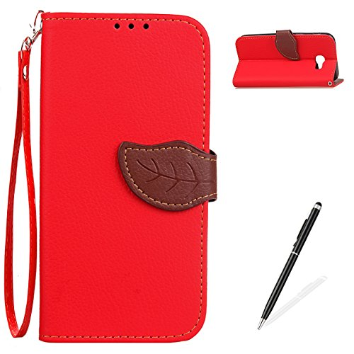 Samsung Galaxy J7 Prime Case,MAGQI Retro Two-Color Design handmade Cover,Premium PU Leather Slim Wallet Case Detachable Hand Strap Stand Function Card Slots Book Protective Skin Shell - Red