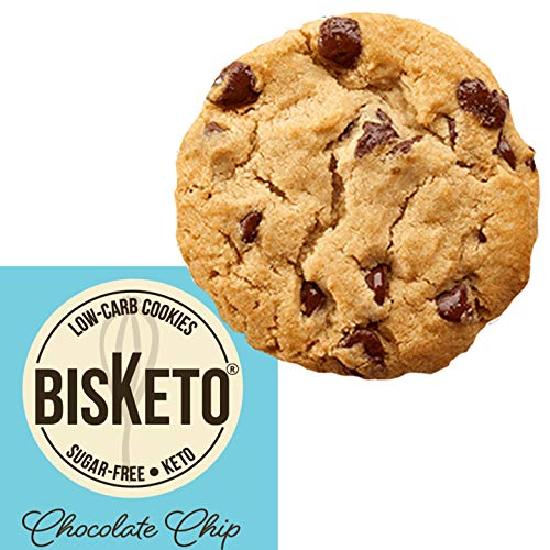 Low Carb Cookies BisKeto - Keto Snacks, Low Net Carbs, Sugar & Gluten Free, Ketogenic Diet Friendly & Healthy Snack Food - Box with 12 (Chocolate Chip) ()