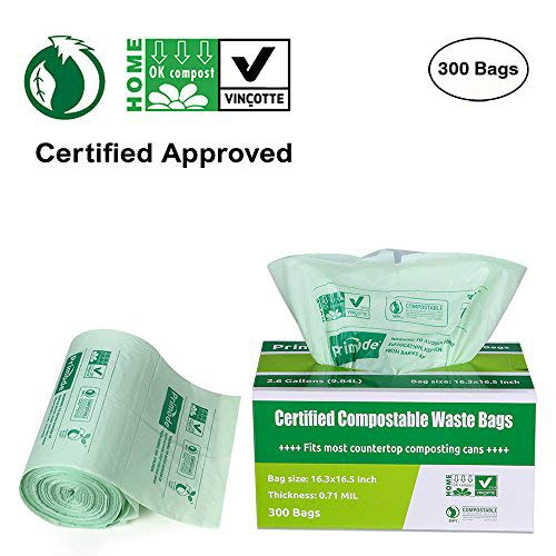 Primode 100% Compostable Bags, 3 Gallon Food Scraps Yard Waste Bags, Extra Thick 0.71 Mil. ASTMD6400 Biodegradable Compost Bags Small Kitchen Bags, Certified by BPI and VINCETTE, (300)