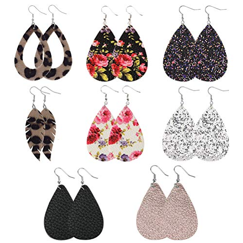 8 Pairs Faux Leather Earrings, Women Girls Teardrop Earrings Vintage Petal Drop Dangle Earrings, Lightweight Floral Earrings Glitter Drusy Earrings Leopard Statement Earrings Fashion Jewelries Decors