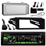 JVC KDR680S Radio USB AUX CD Player Receiver W Cover Bundle With Install Dash Kit + Handle Bar Control + Enrock Antenna for 98 2013 Harley Touring Flht Flhx Flhtc Motorcycle Bike