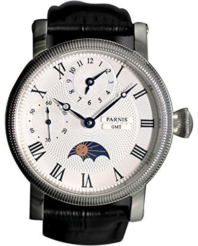 Parnis Men's Hand Wind Mechanical Watch Two Times Moon Phase Seagull Movement St36