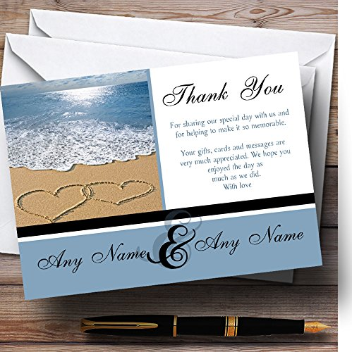 Love Heart Sand Beach Sea Personalized Wedding Thank You Cards ()