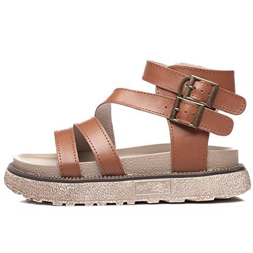 Simples QQWWEERRTT Ocio de marrón Verano Zapatos Gruesa Universal Student Suela de Flat Moda Plataforma Sandalias Nuevo Romanos de de Zapatos rRUrq