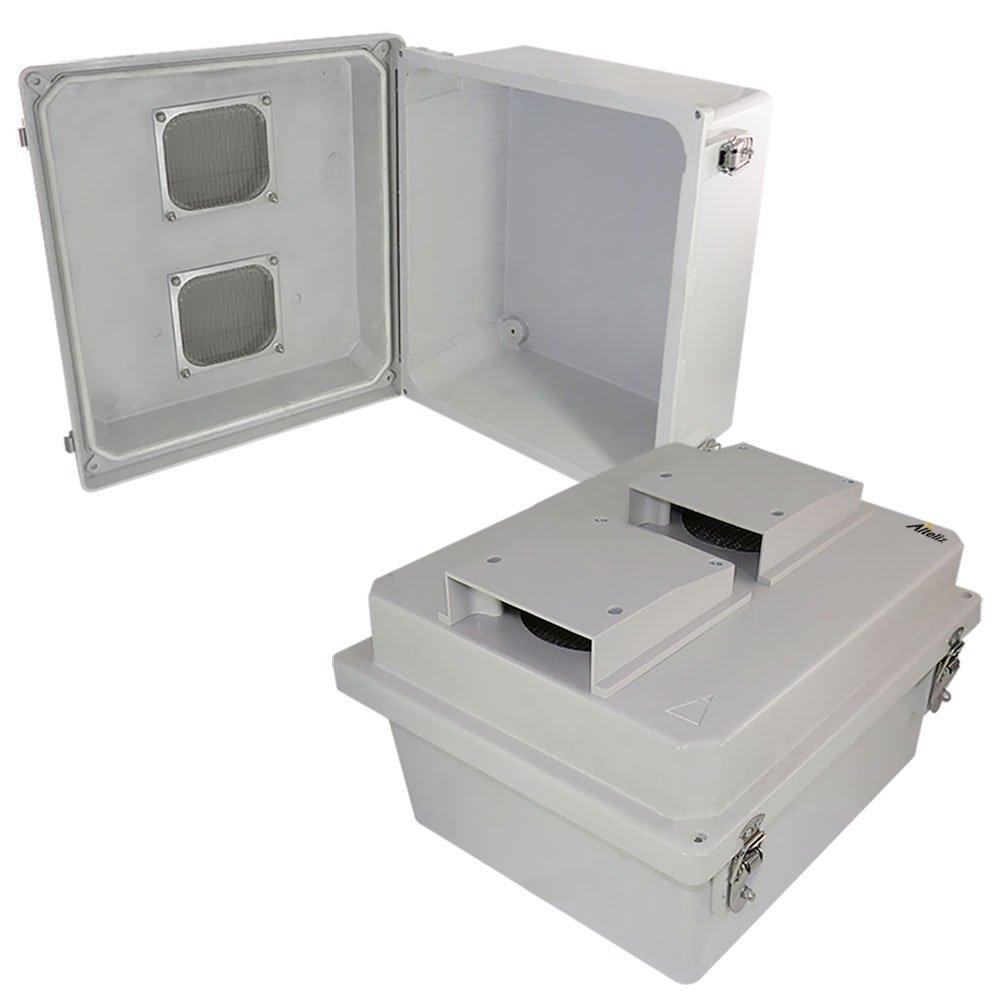 Altelix 14x12x8 Vented FRP Fiberglass Weatherproof NEMA Box Weatherproof Equipment Enclosure with Hinged Lid & Stainless Steel Latches
