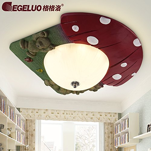 BGmdjcf Children'S Room Xiong Led Ceiling Light , 3 Bear + Red Green Remote Non-Polarity Dimming Color Palette