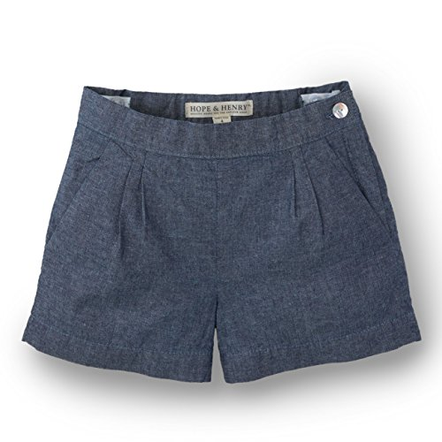 Girls Chambray Shorts (Hope & Henry Girls Cambray Pleat Short)