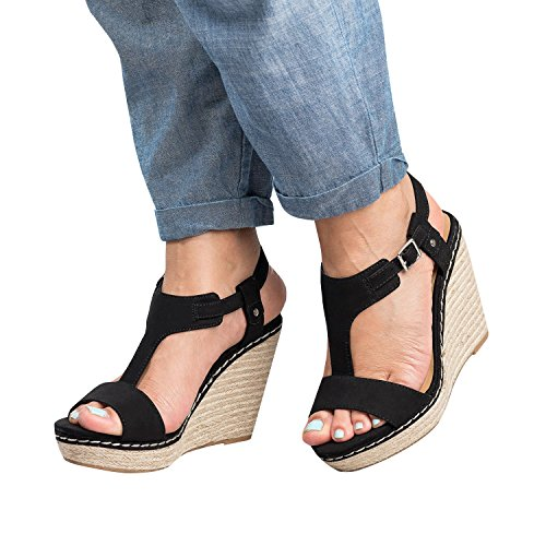 Enjoybuy Womens T Strap Espadrille Sandals Peep Toe Cut Out Platform Wedges Casual High Heel (Sexy Espadrille)