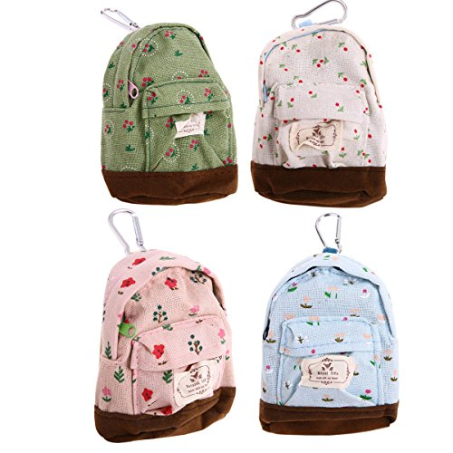 Bonaweite Mini Backpack Style Key Chain Coin Purse Pouch Cash Bag Small Wallets Wallet Bags Pouches Dollar Gifts set of 4