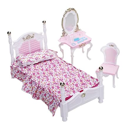 Amazon Com Doll Bedroom Furniture Set Dollhouse Accessories By