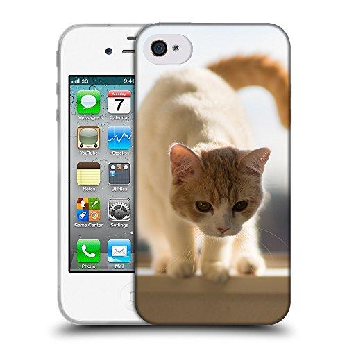Just Phone Cases Coque de Protection TPU Silicone Case pour // V00004270 chaton Rouge se prépare pour un saut // Apple iPhone 4 4S 4G
