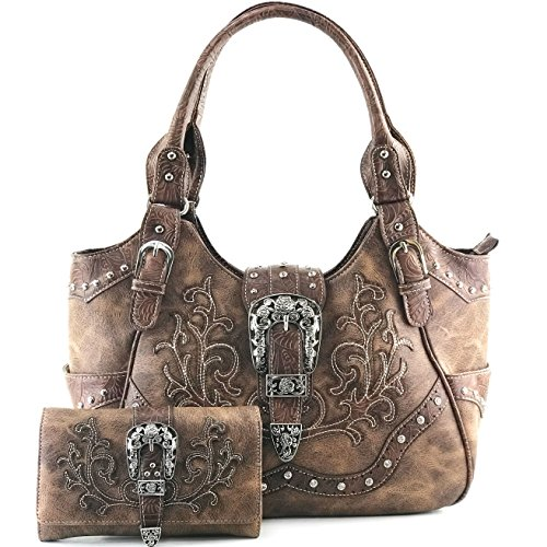 American West Western Handbag (Justin West American Albino Floral Embroidery Buckle Shoulder Concealed Carry Handbag Purse (Brown Brown Purse and Wallet Set))