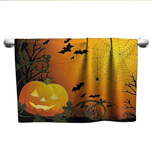 alisoso Spider Web,Best Bath Towels Halloween Themed Composition with Pumpkin Leaves Trees Web and Bats Absorbent Towel Orange Dark Green Black W 14