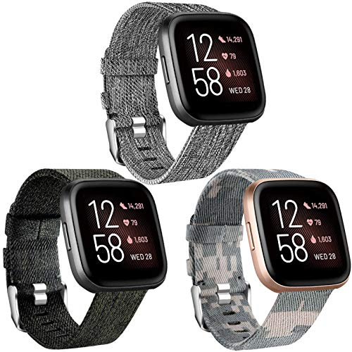 Maledan Bands Compatible with Fitbit Versa/Versa Lite/Versa 2 for Men Women Small, Breathable Woven Fabric Strap Replacement Watch Band for Versa Watch, 3 Pack Charcoal/Green/Camouflage