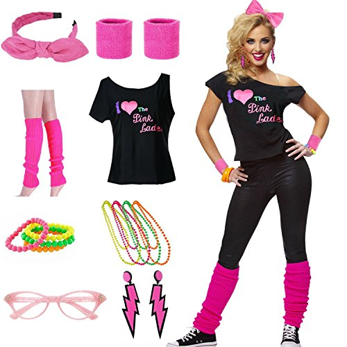 * NEW * Women's I Love The Pink Ladies 80s T-Shirt Costume Set - S to XXL