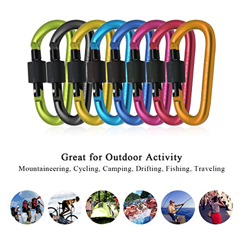 Aluminum Carabiner Clip Locking Carabiner D Ring Spring Snap Clip Hook Screw Gate Buckle for Traveling, Hiking, Camping, Pack of Assorted Colors