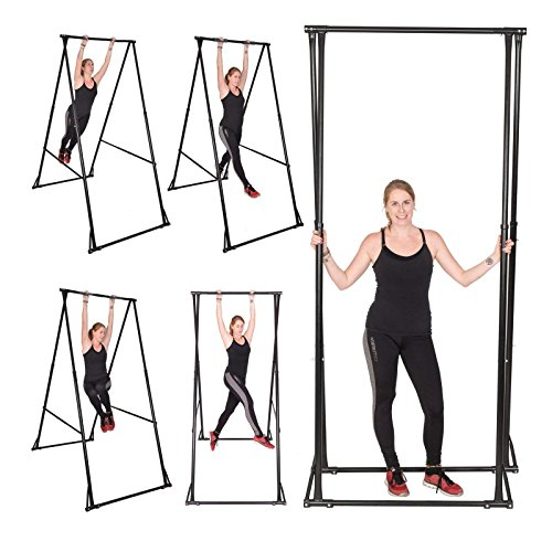 Popsport 280LBS Portable Pull Up Bar Height Adjustable Portable Pull Up Gym Stand Fitness Equipment Folding Free Standing Pull Up Bar for Home Gym