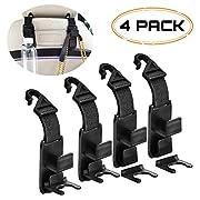 #LightningDeal 91% claimed: IKENAU Car Backseat Headrest Hook, Vehicle Universal Car Organizer Storage Hanger for Coats, Handbag, Purse, Backpack, Grocery Bags with Bottle Holder - 4 Pack (Black)
