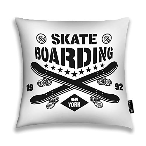 Randell Throw Pillow Covers Skateboarding Emblem Two Crossed Skate Decks Vintage Monochrome Style WHI Home Decorative Throw Pillowcases Couch Cases 16