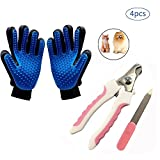 #10: URONN Dog Grooming Kits Pet Grooming Kits - One Pair Dog Grooming Glove Pet Hair Remover Glove & Dog Nail Clippers