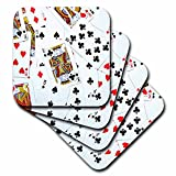 3dRose cst_112896_1 Scattered Playing Cards Photo-For Card Game Players Eg Poker Bridge Games Casino Las Vegas Night-Soft Coasters, Set of 4