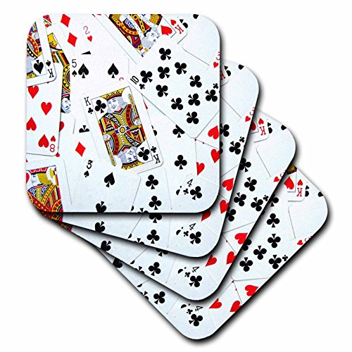 Casino Las Vegas Glass (3dRose cst_112896_1 Scattered Playing Cards Photo-For Card Game Players Eg Poker Bridge Games Casino Las Vegas Night-Soft Coasters, Set of)