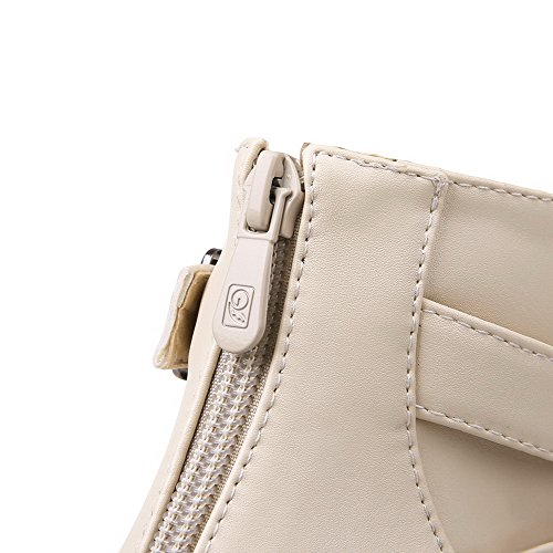 Solid Allhqfashion Closed Heels Toe Zipper Boots Beige Round Kitten Women's Pu RqrR0B