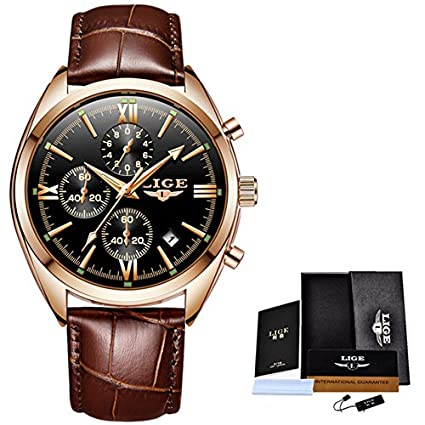 LIGE Mens Watches Top Brand Luxury Fashion Casual Gold Quartz Watch Men Business Waterproof Sport Wrist
