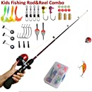 Kids Fishing Rods and Reel Combo Telescopic kids Fishing Pole Full Kit Light and Durable (Black)