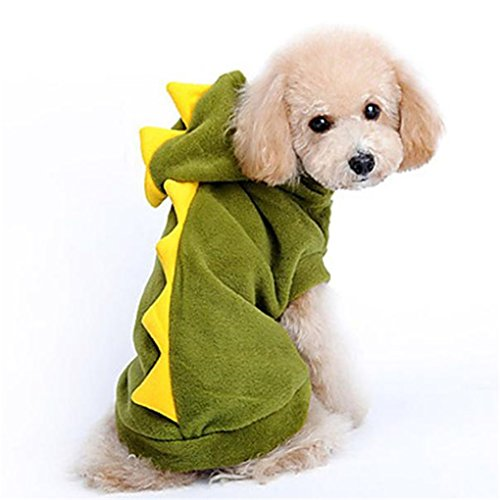 haoricu Puppy Clothes, 2016 Fashion Dinosaur Pet Pajamas Pet Dog Clothes Cat Puppy Pet Puppy Red Angel Wings Shirt Small Pet Clothes Dog Hoodie Custome Apparel (L, Green) for $<!--$3.68-->