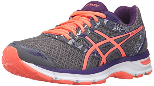 ASICS Women's Gel-Excite 4 Running Shoe, Shark/Flash Coral/Parachute  Purple, 9 M US