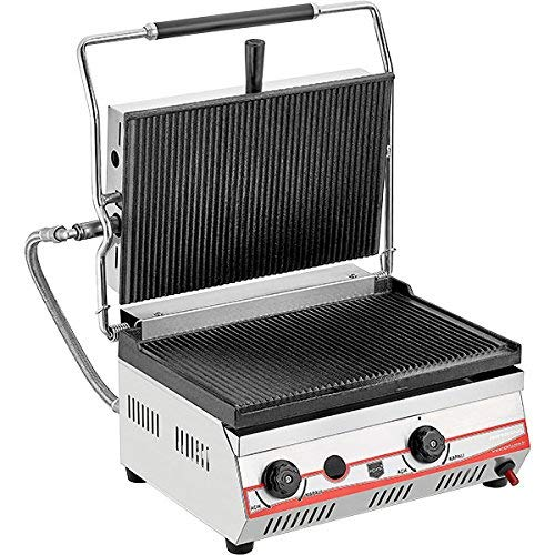 Propane (LPG) Gas Industrial Commercial Grade Kitchen Equipment Non-Stick CAST Iron GROOVED Plates Restaurant Cafe Catering Panini Press Grill Sandwich Griddle Maker Machine Large Size