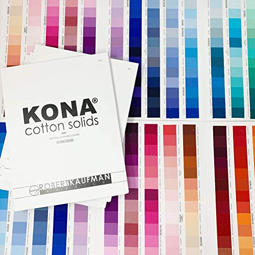 Kona Color Card, Updated in 2017 with 340 Colors, Great Quilting Tool, Actual Fabric Swatches, Bonus Kona Fat Quarter Included (Office Kona Supply)