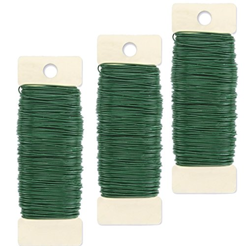 (Curated Nirvana Paddle Wire for Wreaths, Garland, Floral Arrangements and Holiday Decorating Projects - 22 Gauge, Green - 330 Total Feet (3 Pack))