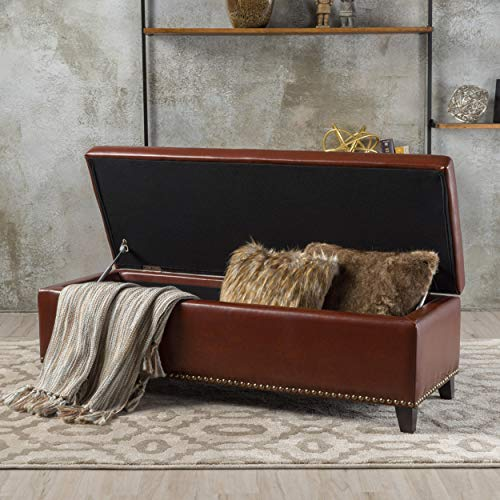 Christopher Knight Home Charleston Brown Leather Storage Ottoman