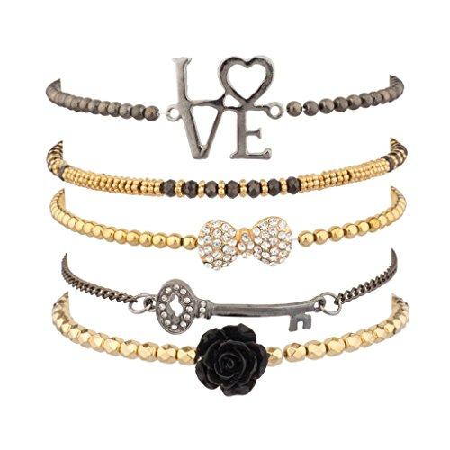 [Lux Accessories Love Pave Bow Key Enamel Bracelet Set] (Arm Candy Costume)
