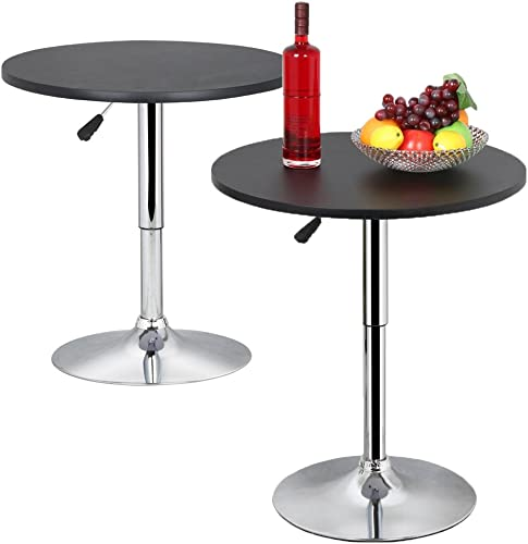 Topeakmart Modern Round Bar Table Adjustable Bistro Pub Counter Swivel Cafe Tables Set of 2