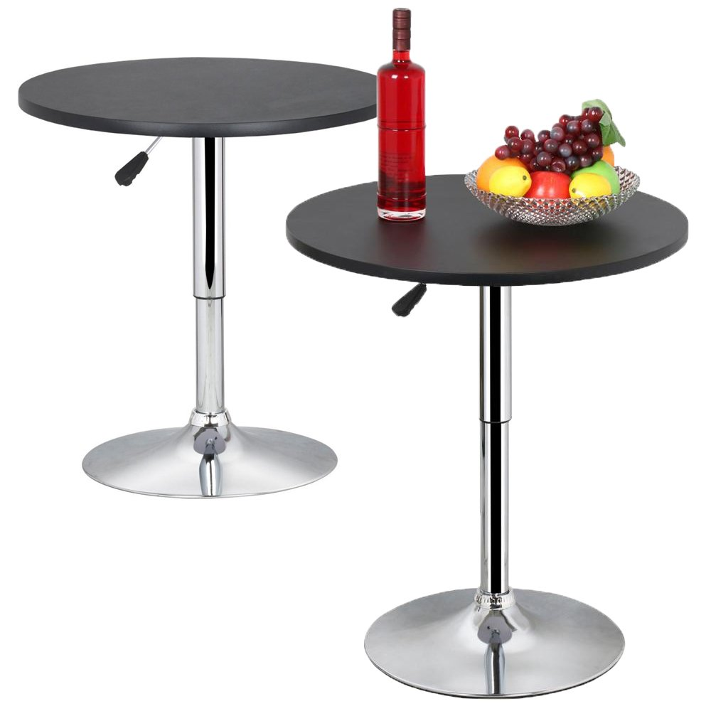 Topeakmart Modern Round Bar Table Adjustable Bistro Pub Counter Swivel Cafe Tables Set of 2 by Topeakmart