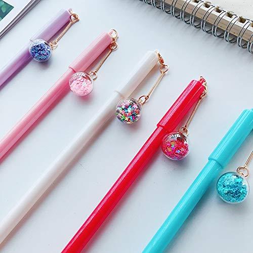 (Mini Star Crystal Pendant Pen, 0.5 Mm Cute Novelty Roller Black Ink Gel Pen 5 Pcs Set Stationery Office Supplies (Crystal))
