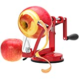 Vremi Apple Peeler Corer Slicer Machine with Vacuum Suction Base - Cast Iron Rotating Spiralizer Apple Peeler for Countertop with Stainless Steel Blades for Apples Fruit Vegetable or Potato - Red