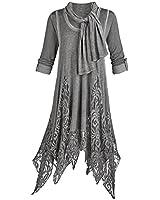 Women's Tunic Top Outfit - Three Piece Gray Goddess Lace Dress Set