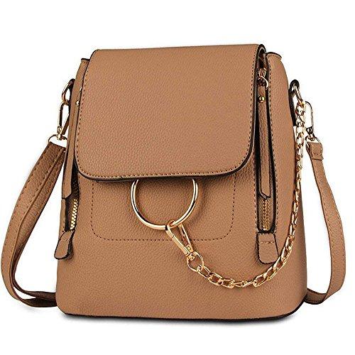 Olyphy Designer Leather Chain Backpack for Women, Fashion Shoulder Bag Backpack (Khaki)