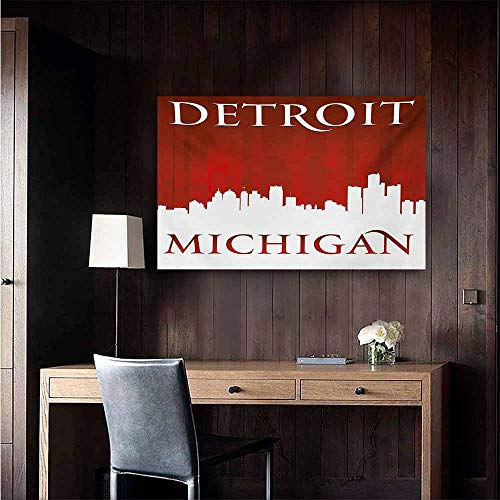 duommhome Detroit Art Oil Paintings Michigan City Silhouette Red and White Composition with Classical Typography Canvas Prints for Home Decorations 35